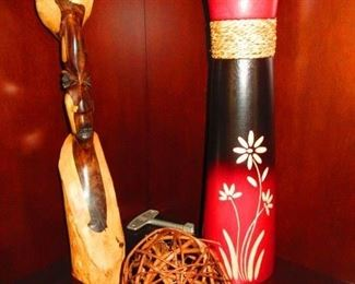 African Carving Of A Tribesman $45                                          Twig Ball $6                                                                                                 Wooden Carved Vase $23