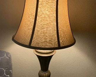 $65 ~ Ceramic Table lamp with earth tone shade  ( two available )