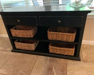 $150- Pottery  Barn Black two drawer utility cabinet with woven baskets / as is / small damaged area along  left edge