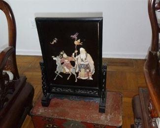 Chinese Shou Xing God of Longevity Soap Stone Table Screen