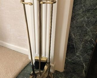 Brass fireplace tools with stand:  $20.  If interested in ALL three items for the fireplace (screen, andirons, and toolset):   Group buy of $75