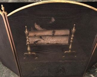 Brass Fireplace tri-fold screen:  $30  If interested in ALL three items for the fireplace (screen, andirons, and toolset):  Group buy of $75