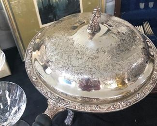 silver plated chafing dish with burner stand - NOW ONLY $20