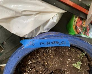 Inv 16 - Blue Planter - 15 - Stoneware