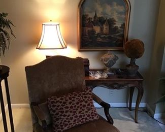 Pair of chairs and pair of tables and lamps