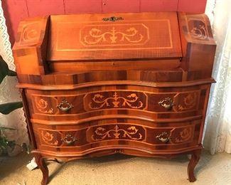 Antique Marquetry Inlay Secretary Desk