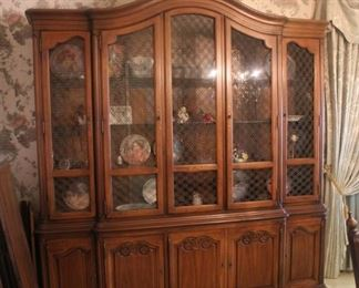"#2 $150.00.  Drexel china cabinet.  83""h x 80""w x 16""dp.  Note: The top does not come off.  One piece."