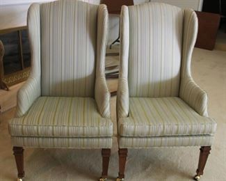 """#6 $100.00 Chairs. Pair. Regency style. JH Biggar. Couldn't be more 1970's! 44"""" h x  21.50"""" w x 27""""dp. Seat height 18.50"""""""