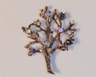 "Tree of Life - Family tree pin, with 8 crystals, marked STER PC, measures 1-1/2"" x 1-7/8""   $4.50 (was $8)"