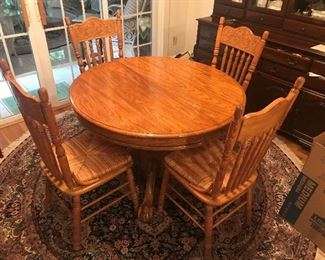 Antique Pedestal Table / 4 Chairs $ 268.00