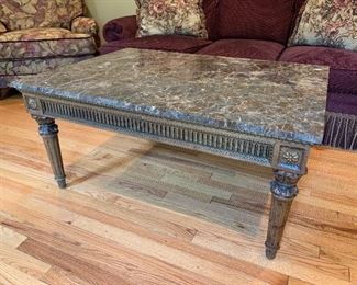 """Marble top coffee table in excellent condition.  42.5""""x30.5""""x20"""" - Price $450"""