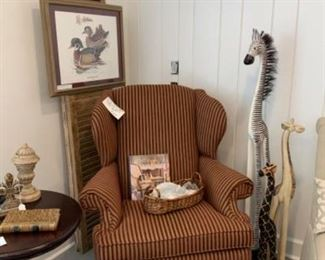 Wing Back Chair with Carved Ball and Claw Feet $210