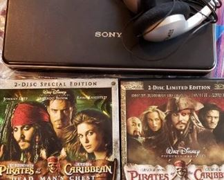 Sony Portable DVD Player with 2 Pirates of the Caribbean Movies