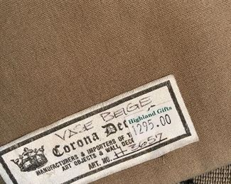 Label on tapestry