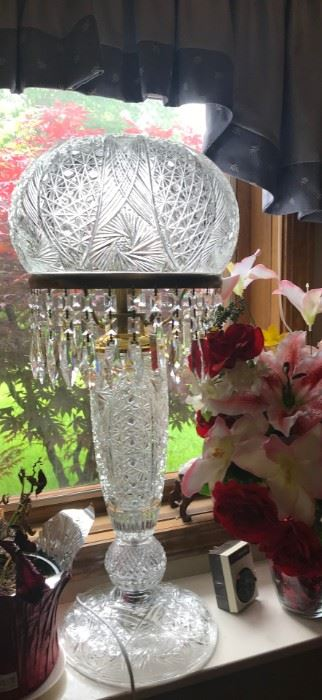 Large Cut Crystal Dome lamp with Prisms