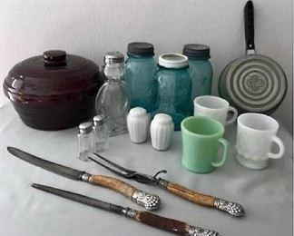 Vintage Kitchen Decor Lot 1 Fire King, Ball, Club and More https://ctbids.com/#!/description/share/405017