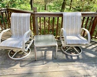 1. Set of Four Mesh Swivel Chairs $ 400.00  3. Set of 2 Glass Top End Tables  $ 100.00