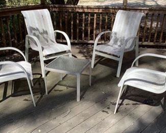 2. Set of Four Mesh Chairs w/ Side Table  $ 300.00