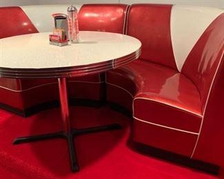 16. 2 Pc. Retro Semi Circle Banquette (92'' x 44'' x 38'') $ 1,200.00  17. Retro Formica Top Table w/ Chrome Pedestal Base (45'' x 31'') $ 200.00