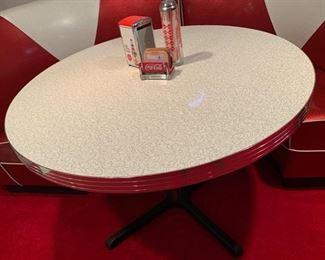17. Retro Formica Top Table w/ Chrome Pedestal Base (45'' x 31'') $ 200.00