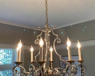 73. 8 Candle Pewter Chandelier w/ Brass Accents (30'' x 28'') $ 3,500.00
