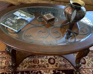 95. Carved Coffee Table w/ Glass Inset Top (48'' x 34'' x 20'') $ 450.00