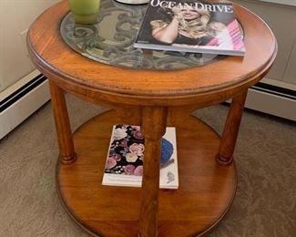 124. Round Side Table w/ Beveled Glass Top & Scroll Detail (26'' x 25'') $ 150.00