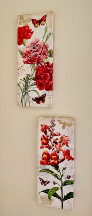 143. Pair of Floral Canvases (8'' x 20'') $ 15.00