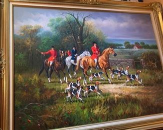 184. Fox Hunt Painting Signed Jack Smith (57'' x 43'') $ 400.00