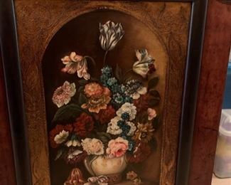 181. Floral Still Life w/ Leather Wrapped Frame (40'' x 30'') from Wentworth Gallery $ 800.00