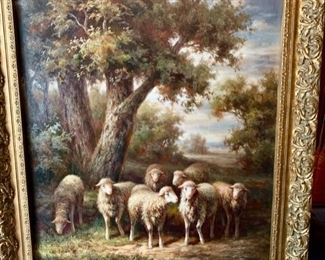 188. Signed Landscape w/ Sheep by G. Gaitte (46'' x 59'') from Wentworth Gallery $ 750.00