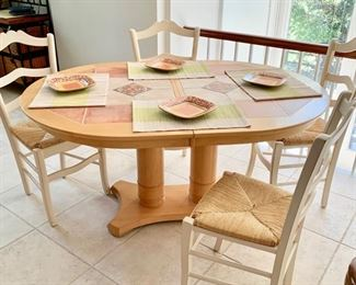 41. Tile Top Dining Table w/ 1 (18'') Leaf (60'' x 42'' x 30'') $ 450.00  42. Set of 6 Side Chairs w/ Rush Seat (17'' x 16'' x 38'') $ 150.00
