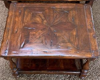 """53. Theodore Alexander """"Castle Bromwich Antique Wood by Hanel"""" Coffee Table (54'' x 32'' x 20'') w/ 2 Pullout Side Tables (20'' x 26'' x 18'')   $ 650.00"""