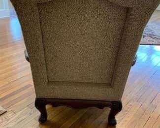 83. Pair of Henredon Upholstered Chairs w/ Carved Wood Detail AS IS (31'' x 33'' x 44'') $ 950.00