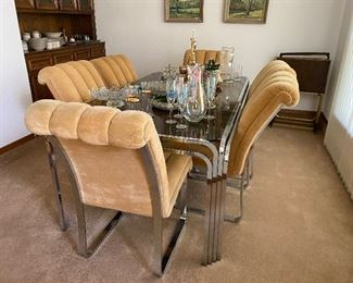 Cool 1970 Chrome and glass dining table with chrome and fabric chairs