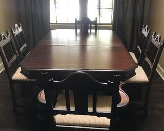 1930's style dining table and chairs (matching buffet