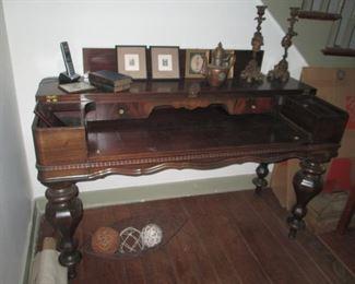 ANT. MAHOGANY DESK MADE FROM A GRAND PIANO