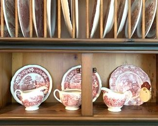 nice selection of red &  white transferware