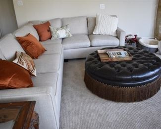 Tweed sectional and leather ottoman