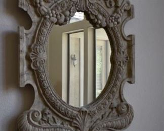 Heavy wood and beveled mirror