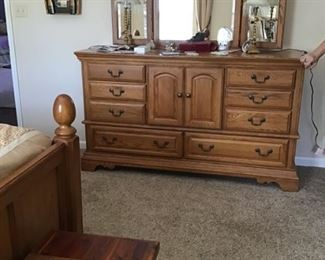 Wynwood oak dresser with triple mirror-SOLD