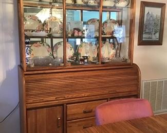 Vintage Oak china cabinet (2 piece) with center rolltop storage/serving area