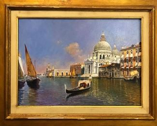 Large Venetian oil painting by Alfio Stazio