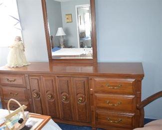 "$300 all 6 pieces Queen Bedroom Set by Ken Coffey Serenata - Solid Wood Dresser 76""W x 20 1/2""D x 32 1/2""H Mirror 30""W x 52""H Armoire / Highboy Dresser 40""W x 20 1/2""D x 53""H 2 Night Stands 25""W x 16""D x 23 1/2""H Queen Headboard 5ftW x 42""H Excellent Condition"
