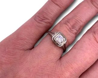 White gold and diamond ring.