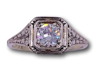 Antique white gold and diamond ring
