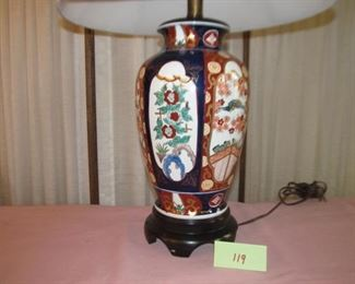 119 Lamp floral blue and red. Chinese Imari style. Was $30; Now $15