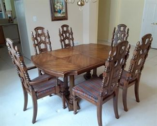 "$175 wood dining set. 6 chairs 2 leaves and pads 65""x 44"" w/o leaves. Each leaf adds 18"""