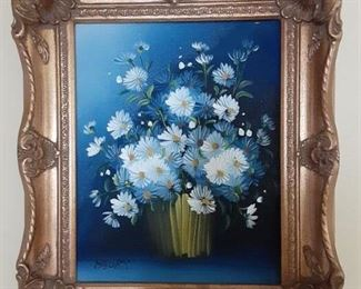 "$40 adorable framed oil on canvas  13.5"" tx 11"" w"