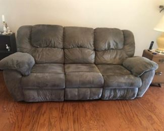Suede sofa with recliner in with end 65.00